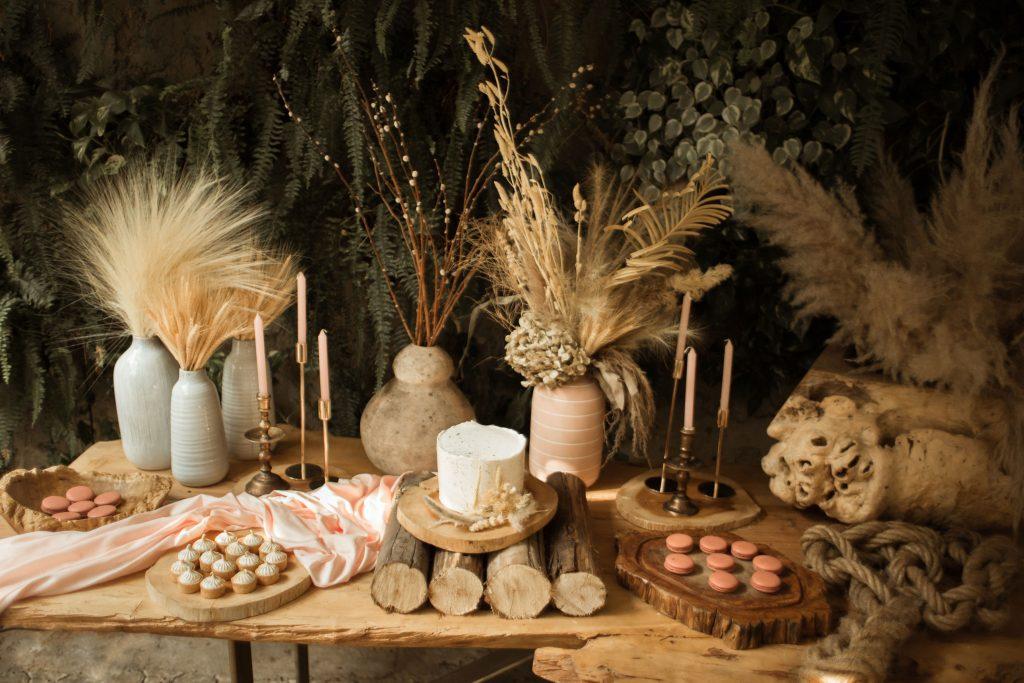 Elementos secos na decoração de casamento